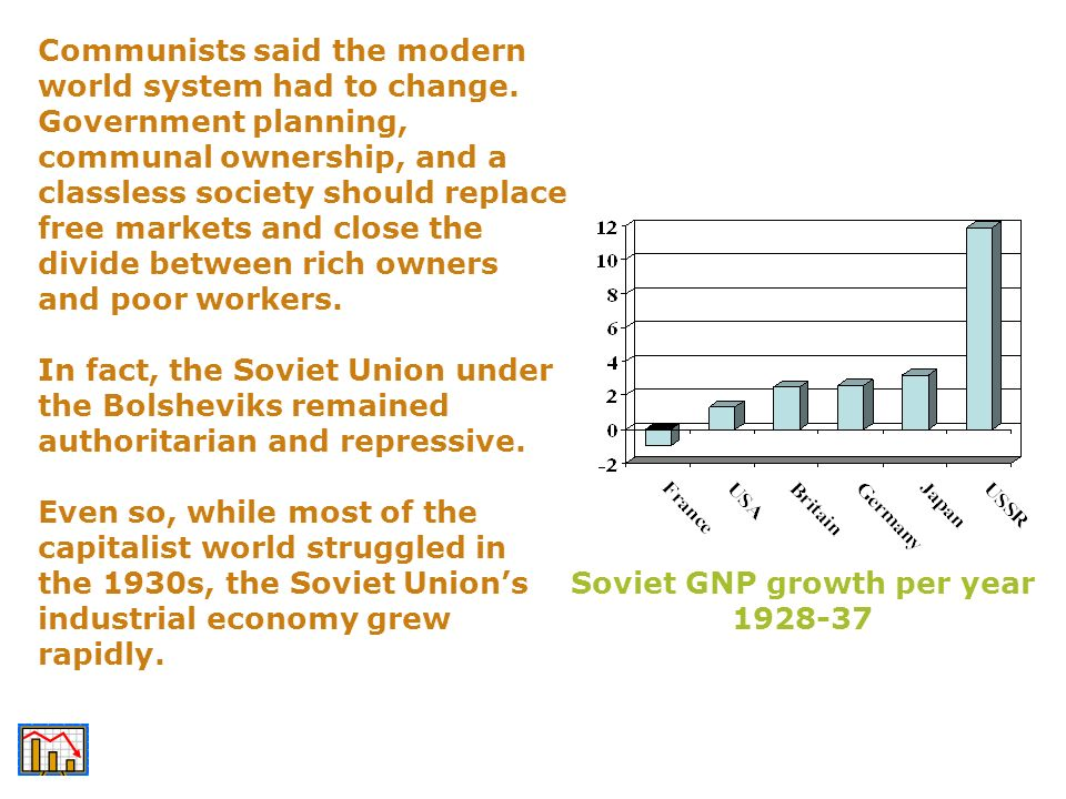 Soviet GNP growth per year 1928-37 Communists said the modern world system had to change. Government planning, communal ownership, and a classless soc