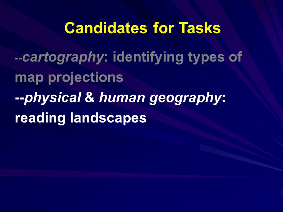 -- cartography: identifying types of map projections --physical & human geography: reading landscapes Candidates for Tasks
