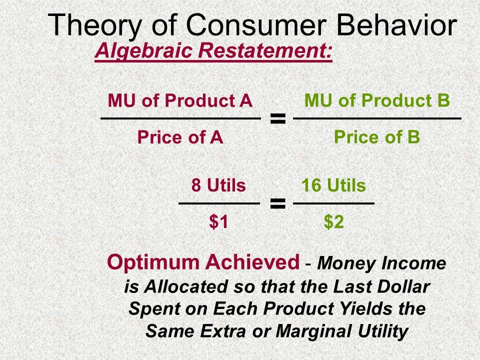 Theory of Consumer Behavior Algebraic Restatement: MU of Product A Price of A MU of Product B Price of B = 8 Utils $1 16 Utils $2 = Optimum Achieved -