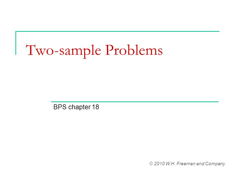 Two-sample Problems BPS chapter 18 © 2010 W.H. Freeman and Company