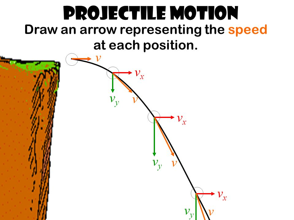 Projectile Motion Draw an arrow representing the speed at each position.