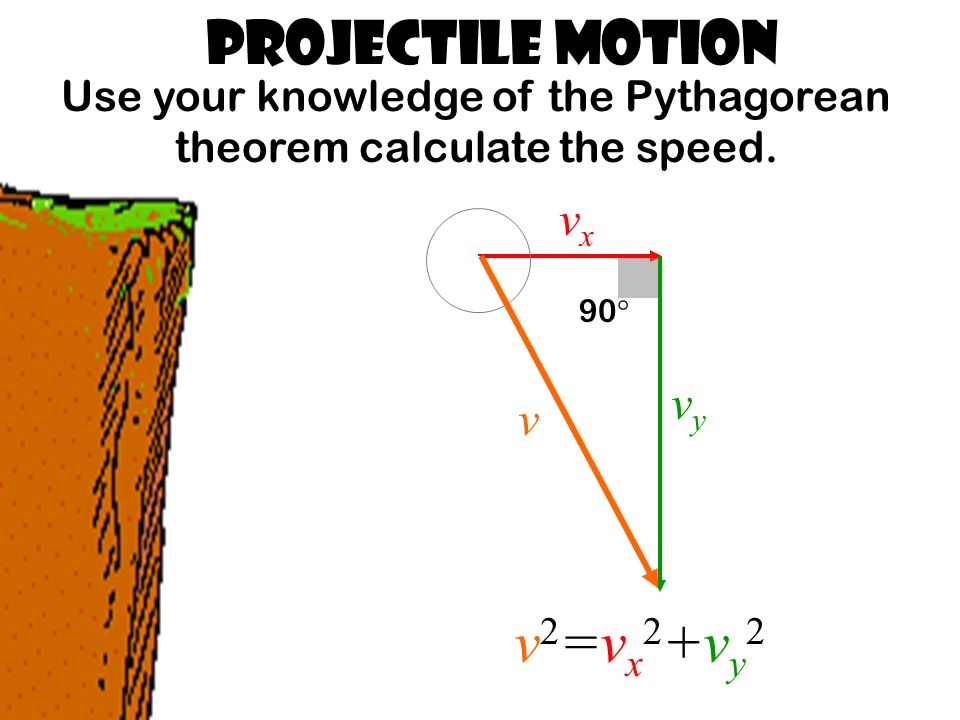 Projectile Motion Use your knowledge of the Pythagorean theorem calculate the speed.