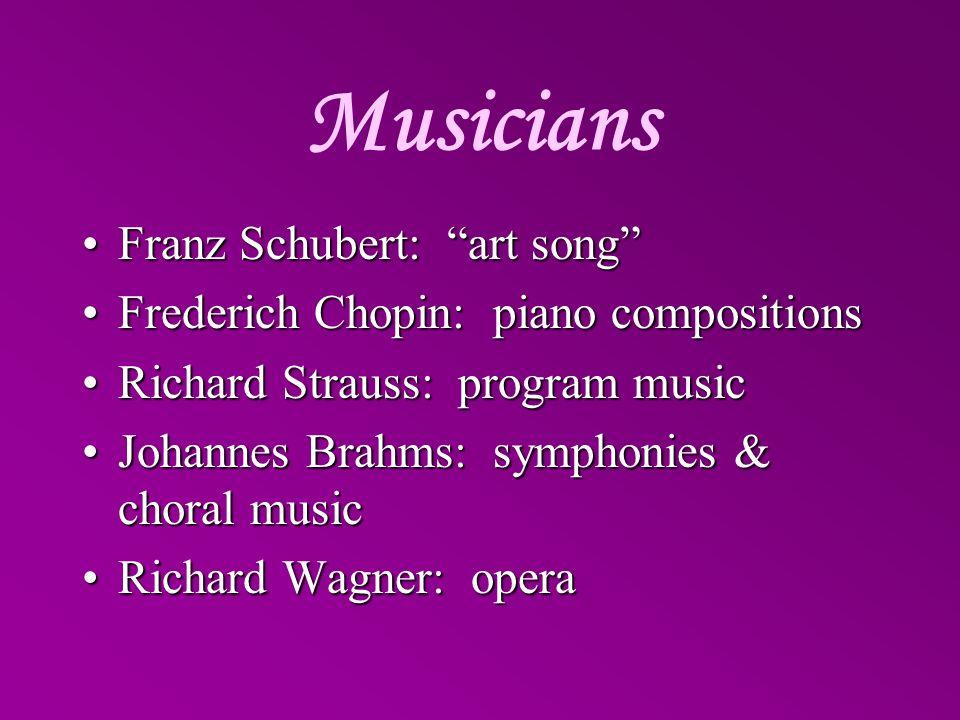 Musicians Franz Schubert: art songFranz Schubert: art song Frederich Chopin: piano compositionsFrederich Chopin: piano compositions Richard Strauss: p