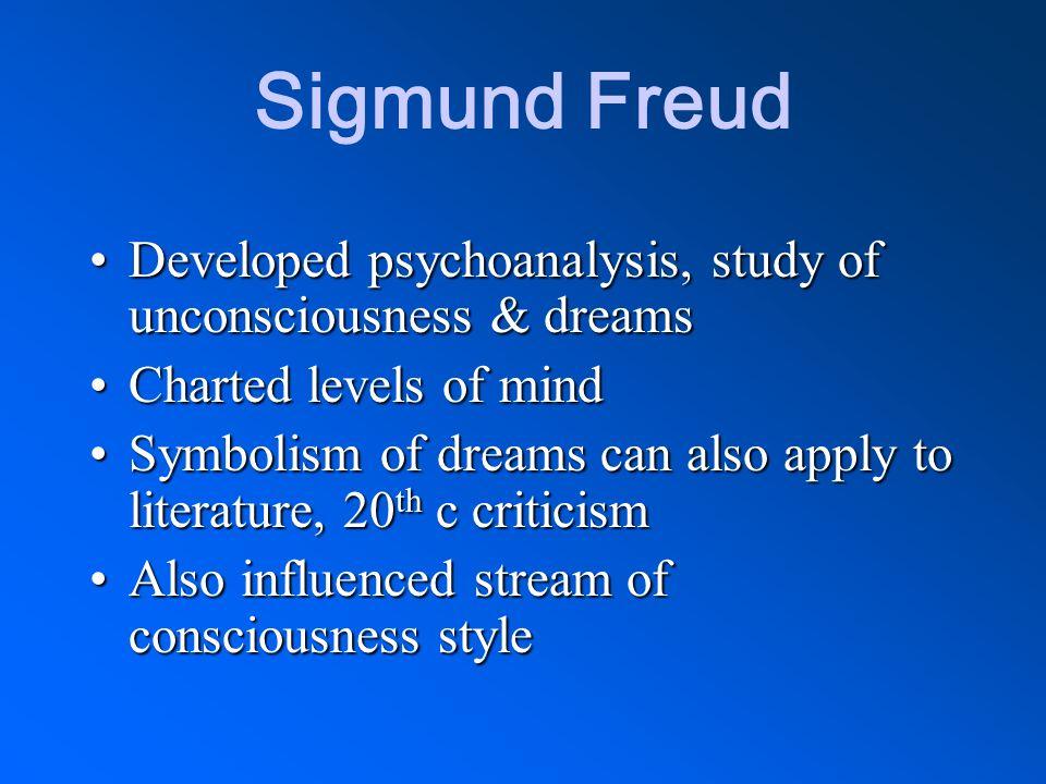 Sigmund Freud Developed psychoanalysis, study of unconsciousness & dreamsDeveloped psychoanalysis, study of unconsciousness & dreams Charted levels of