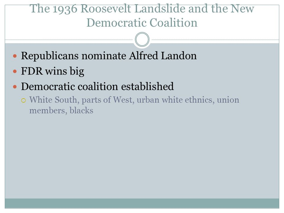 The 1936 Roosevelt Landslide and the New Democratic Coalition Republicans nominate Alfred Landon FDR wins big Democratic coalition established White S