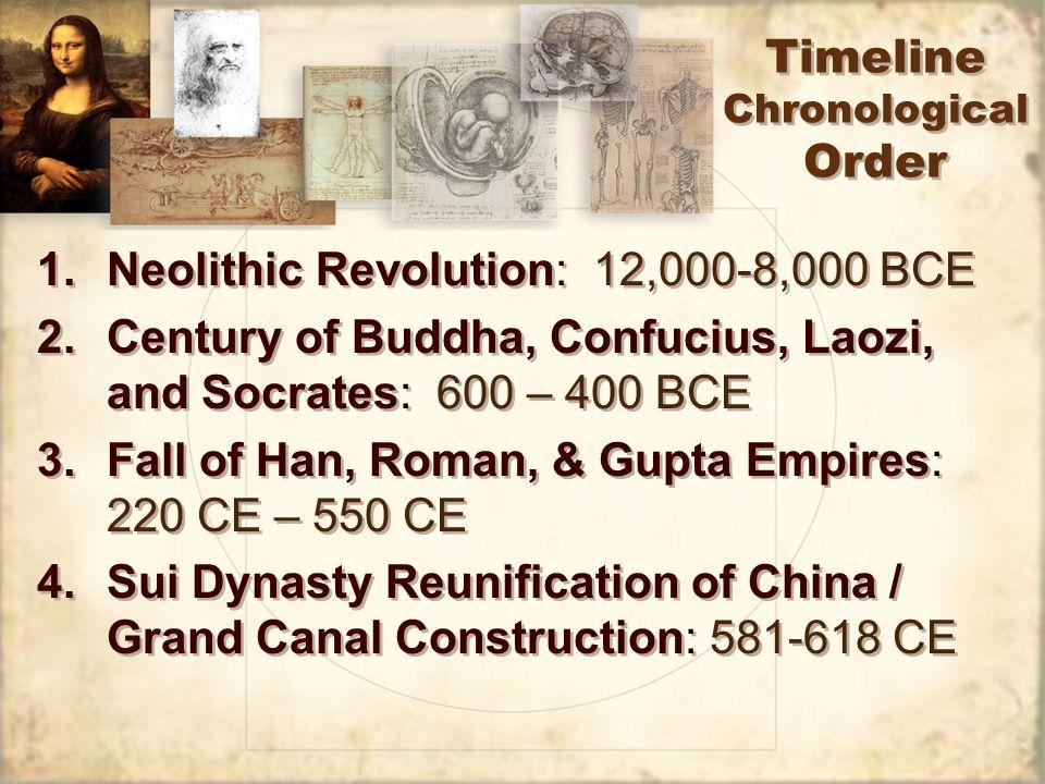 1.Neolithic Revolution: 12,000-8,000 BCE 2.Century of Buddha, Confucius, Laozi, and Socrates: 600 – 400 BCE 3.Fall of Han, Roman, & Gupta Empires: 220