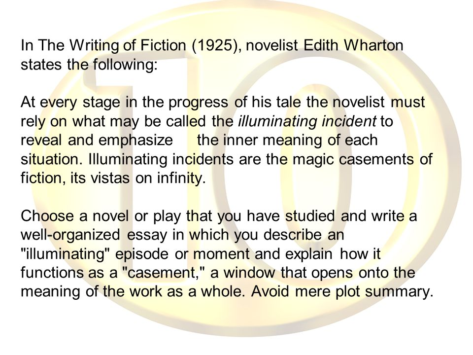In The Writing of Fiction (1925), novelist Edith Wharton states the following: At every stage in the progress of his tale the novelist must rely on wh