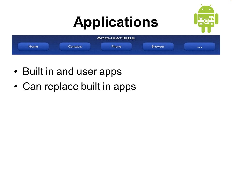 Applications Built in and user apps Can replace built in apps
