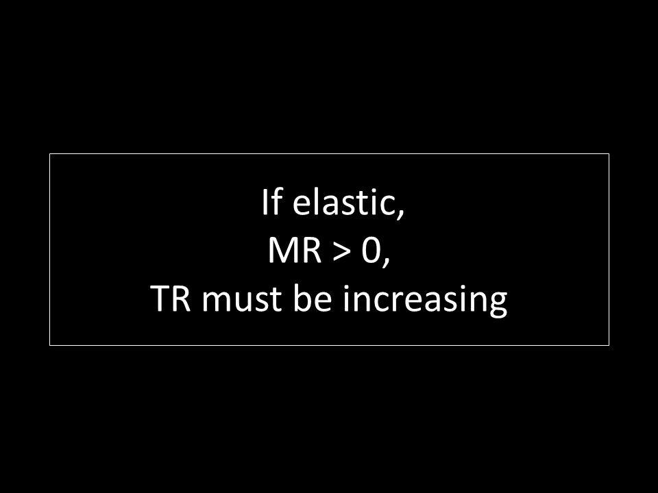 If elastic, MR > 0, TR must be increasing