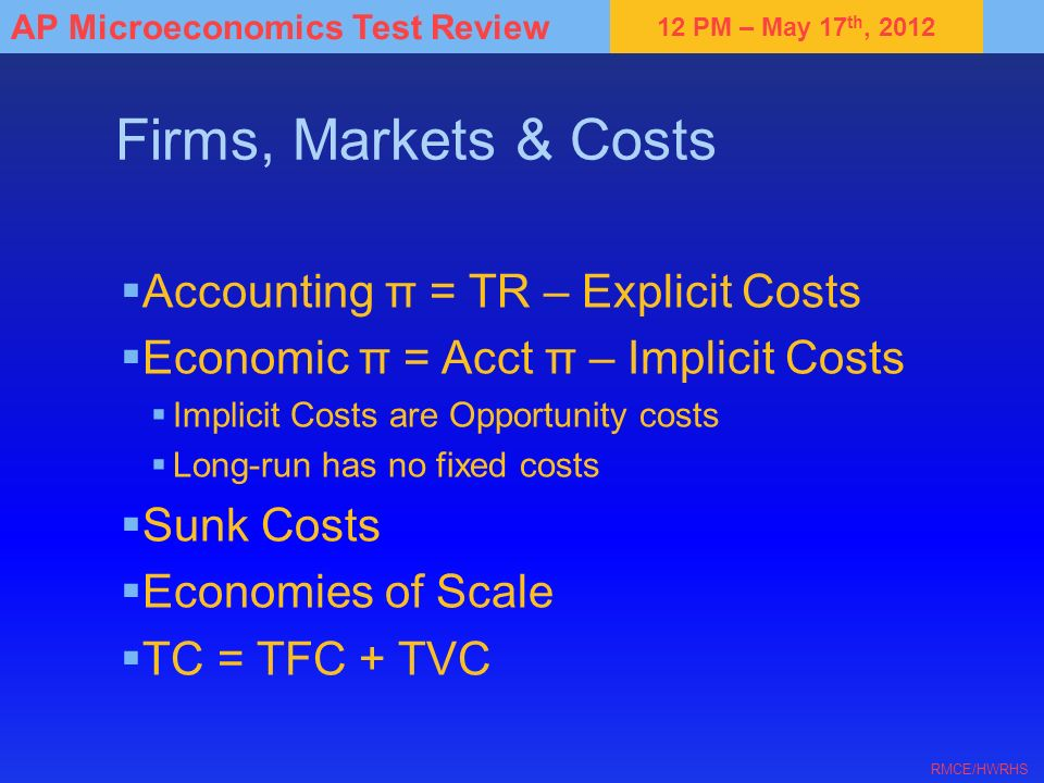 12 PM – May 17 th, 2012 AP Microeconomics Test Review RMCE/HWRHS Firms, Markets & Costs Accounting π = TR – Explicit Costs Economic π = Acct π – Impli