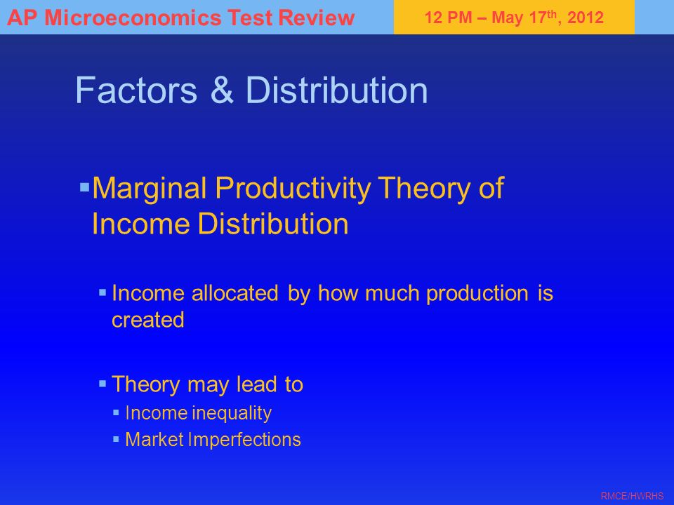 12 PM – May 17 th, 2012 AP Microeconomics Test Review RMCE/HWRHS Factors & Distribution Marginal Productivity Theory of Income Distribution Income all