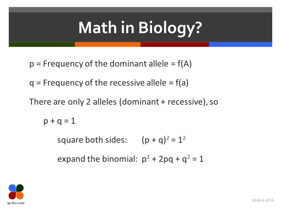 Slide 6 of 15 Math in Biology? p = Frequency of the dominant allele = f(A) q = Frequency of the recessive allele = f(a) There are only 2 alleles (domi