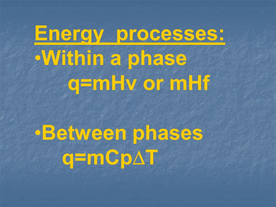 Energy processes: Within a phase q=mHv or mHf Between phases q=mCp T