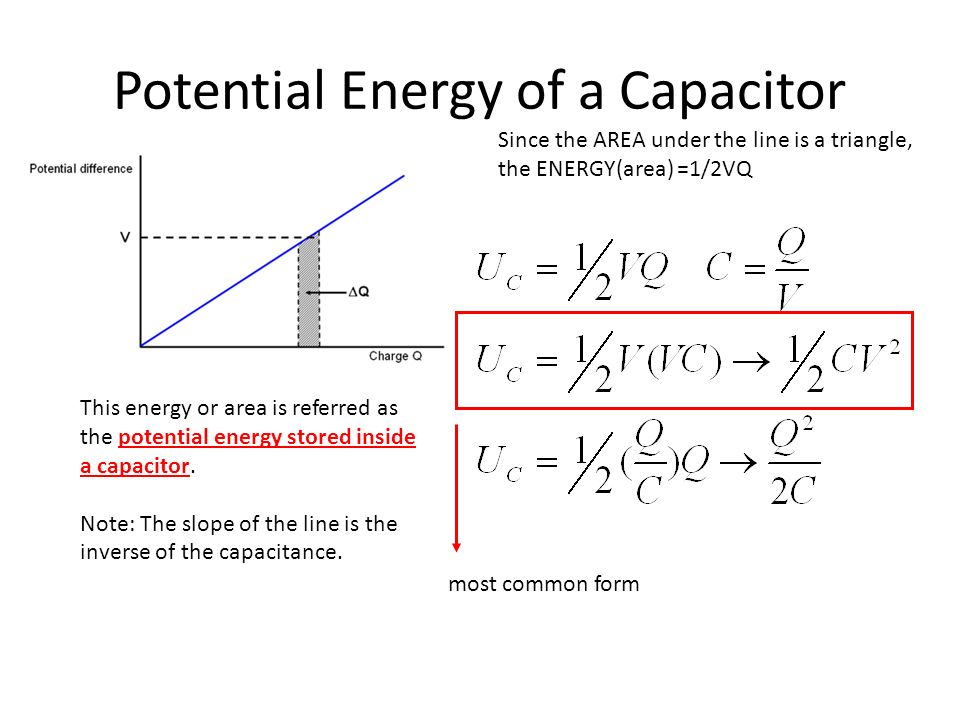 Potential Energy of a Capacitor Since the AREA under the line is a triangle, the ENERGY(area) =1/2VQ This energy or area is referred as the potential