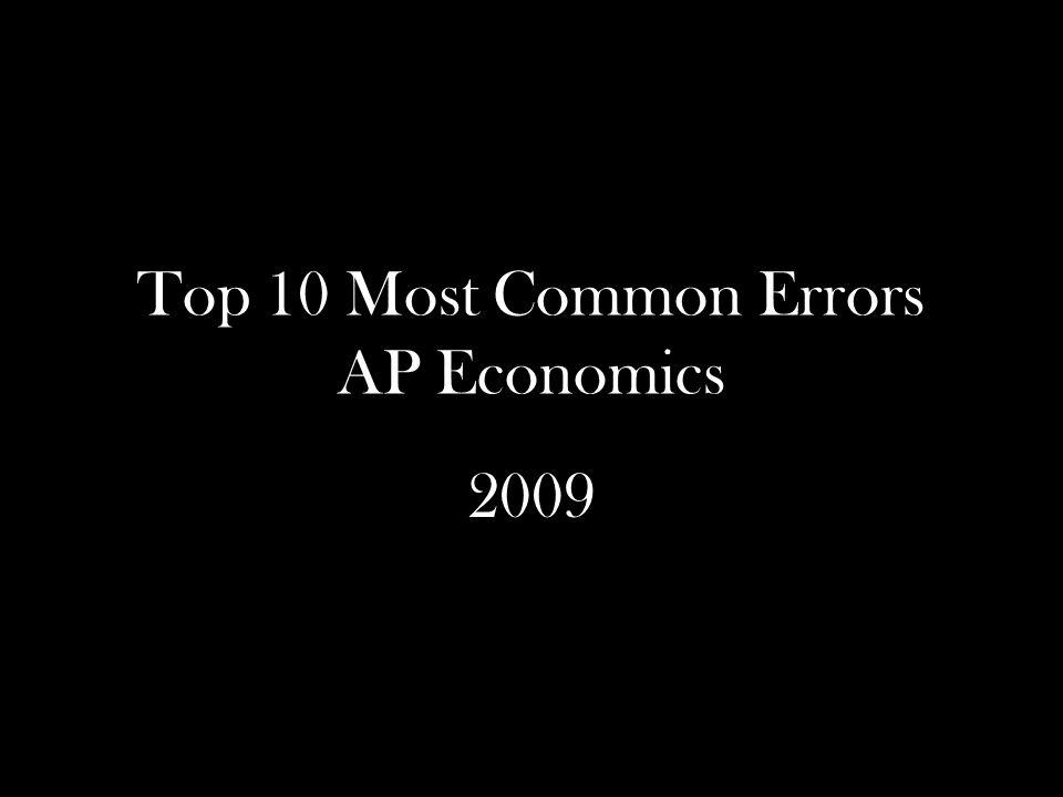 Top 10 Most Common Errors AP Economics 2009