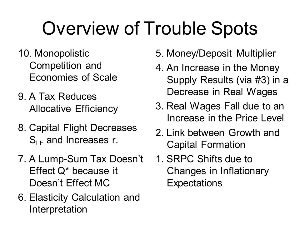 Overview of Trouble Spots 10. Monopolistic Competition and Economies of Scale 9. A Tax Reduces Allocative Efficiency 8. Capital Flight Decreases S LF