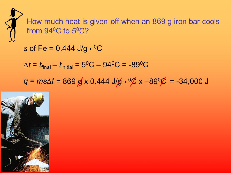 The specific heat (s) [most books use lower case c] of a substance is the amount of heat (q) required to raise the temperature of one gram of the subs