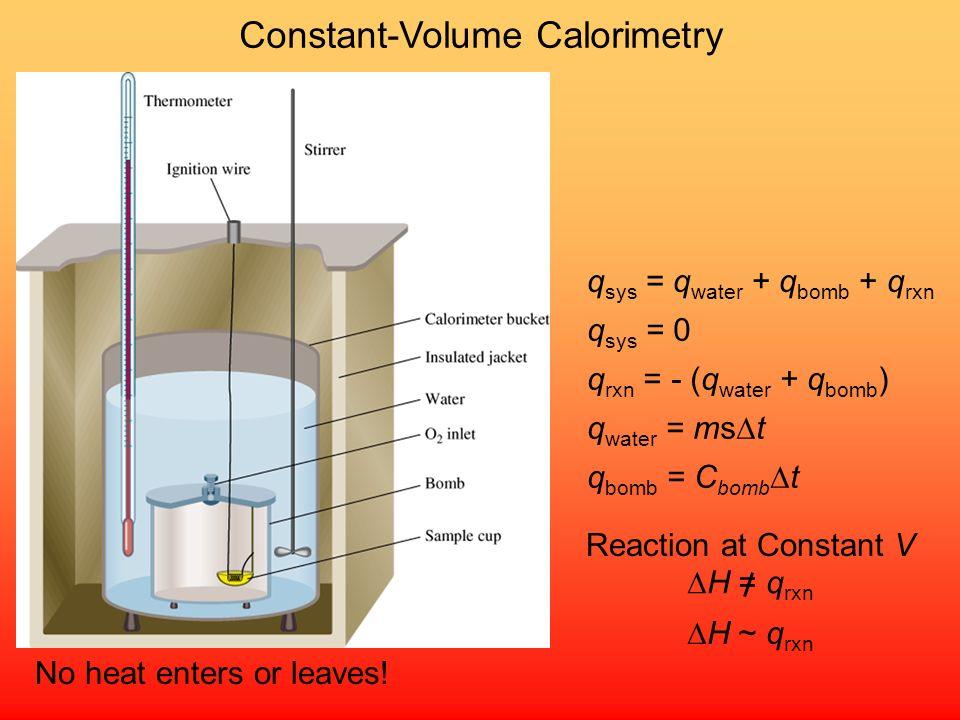 Constant-Pressure Calorimetry No heat enters or leaves! q sys = q water + q cal + q rxn q sys = 0 q rxn = - (q water + q cal ) q water = ms t q cal =