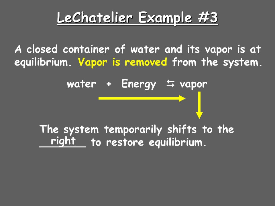 LeChatelier Example #3 A closed container of water and its vapor is at equilibrium.