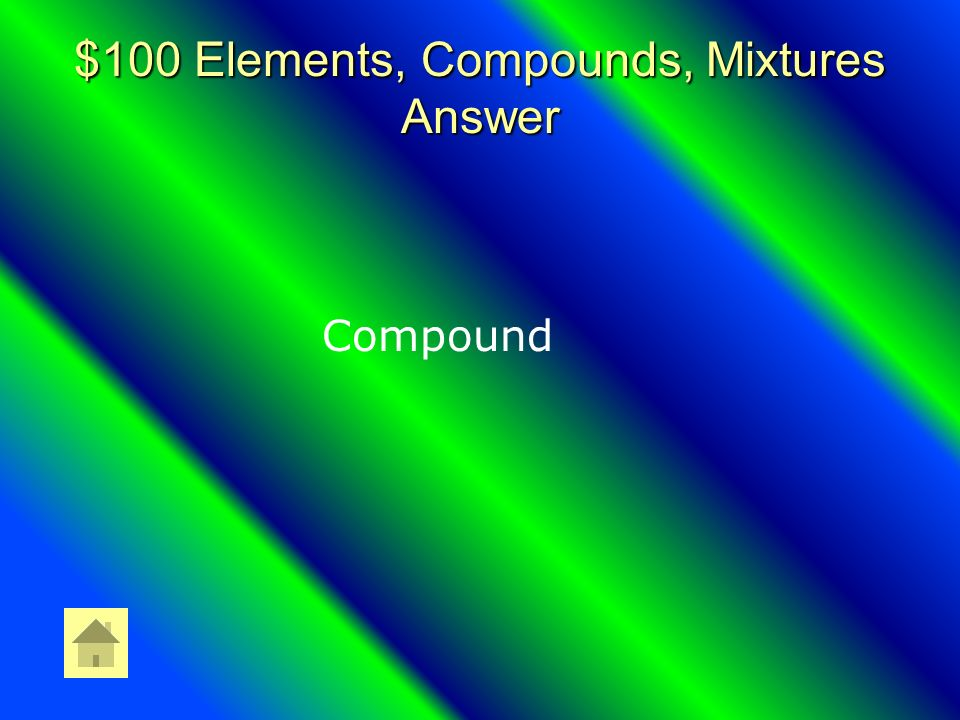 $100 Elements, Compounds, Mixtures Question Two or More Elements Chemically Combined.