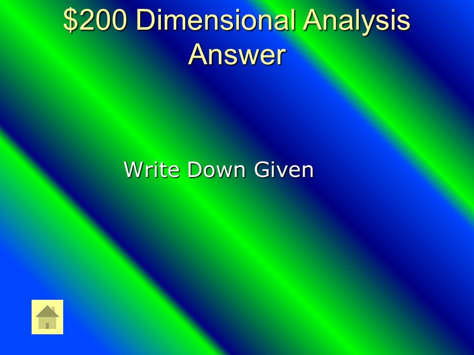 $200 Measurement Answer Derived Units