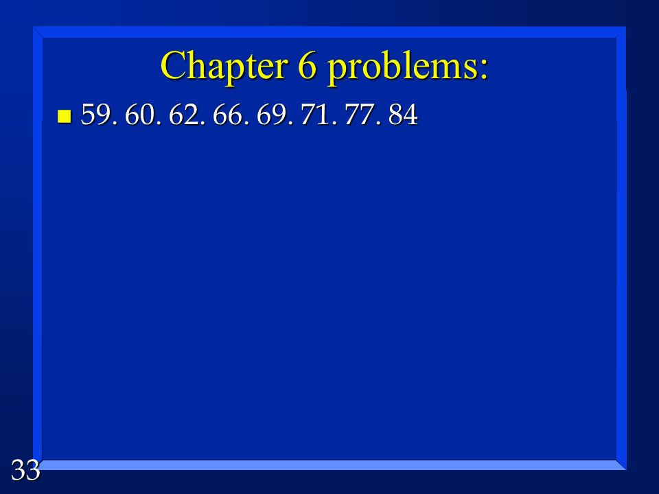 32 Solve the problem: C 2 H 5 OH(l) +3O 2 (g) 2CO 2 (g) + 3H 2 O(l) ΔHf: -278 0 -393.5-286 (kJ/mol) ΔH = [(2-393.5kJ)+(3-286kJ)]-[-278kJ + 30kJ] ΔH =