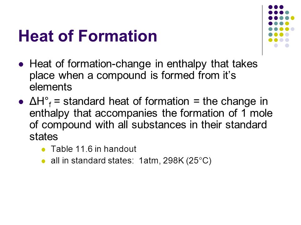 Heat of Formation Heat of formation-change in enthalpy that takes place when a compound is formed from its elements ΔH° f = standard heat of formation