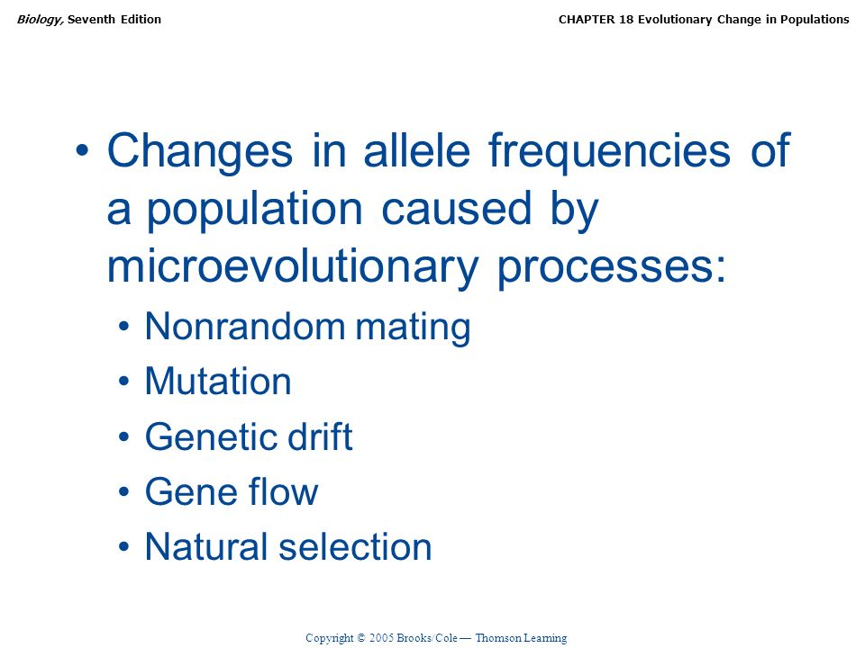Copyright © 2005 Brooks/Cole Thomson Learning Biology, Seventh EditionCHAPTER 18 Evolutionary Change in Populations Changes in allele frequencies of a