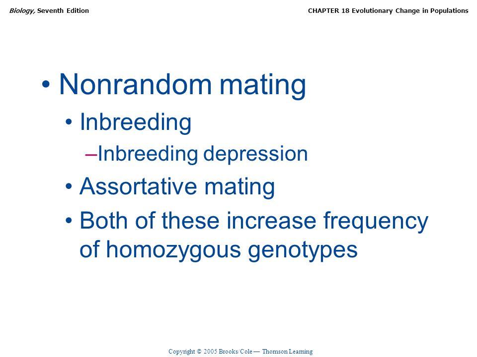 Copyright © 2005 Brooks/Cole Thomson Learning Biology, Seventh EditionCHAPTER 18 Evolutionary Change in Populations Nonrandom mating Inbreeding –Inbre
