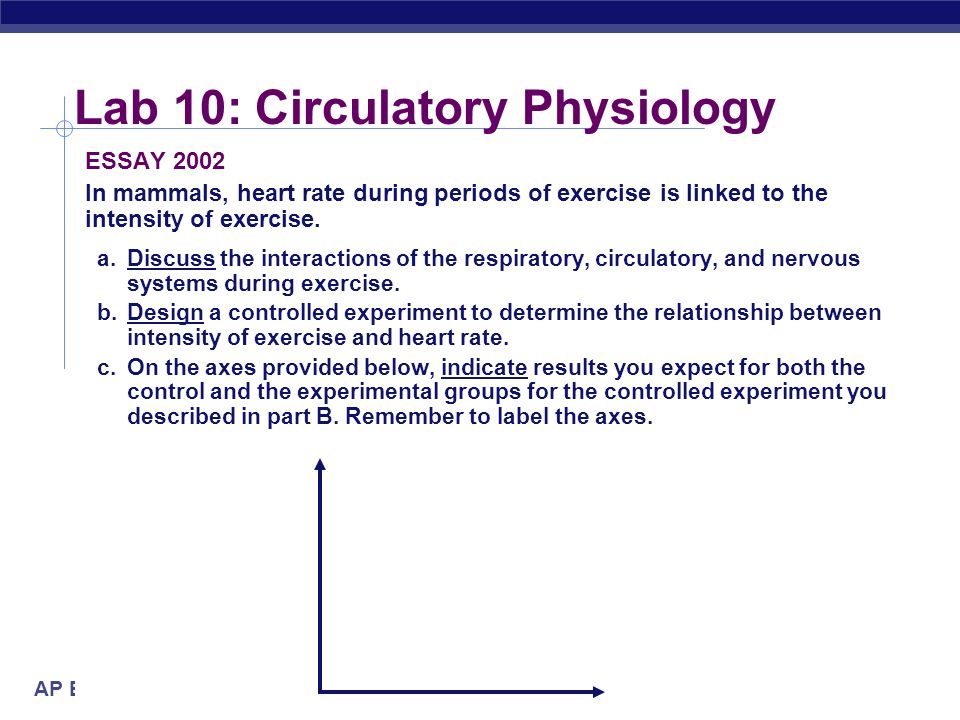 AP Biology Lab 10: Circulatory Physiology Conclusions Activity increase heart rate in a fit individual pulse & blood pressure are lower & will return