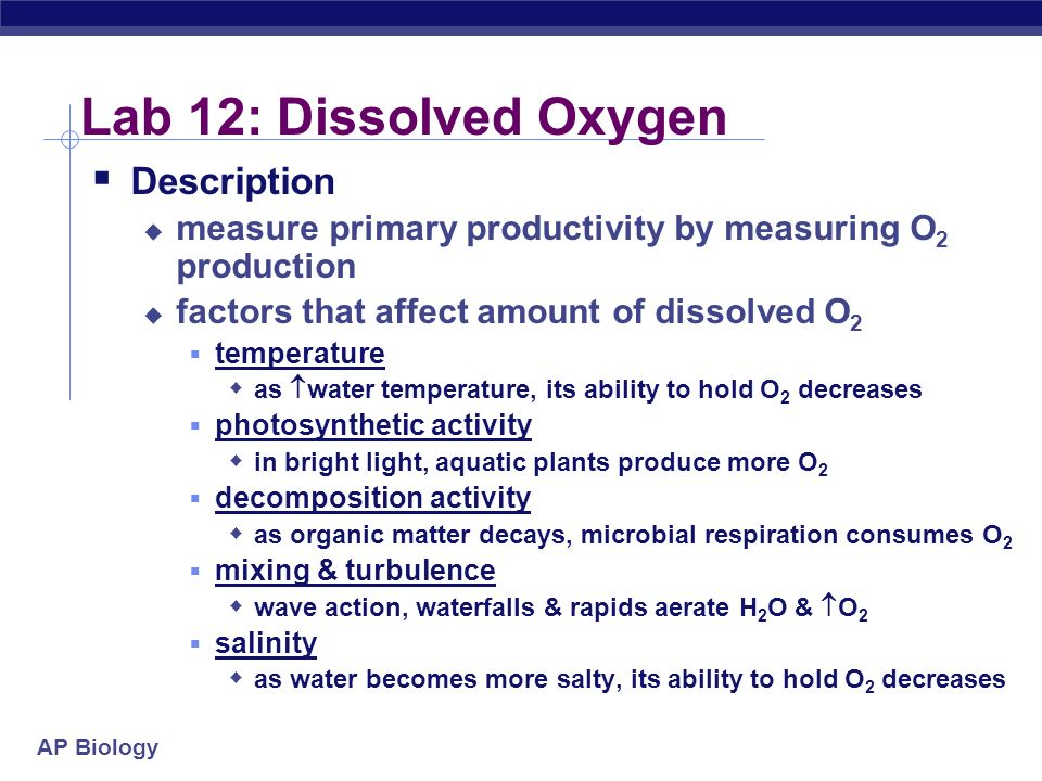 AP Biology Lab 12: Dissolved Oxygen