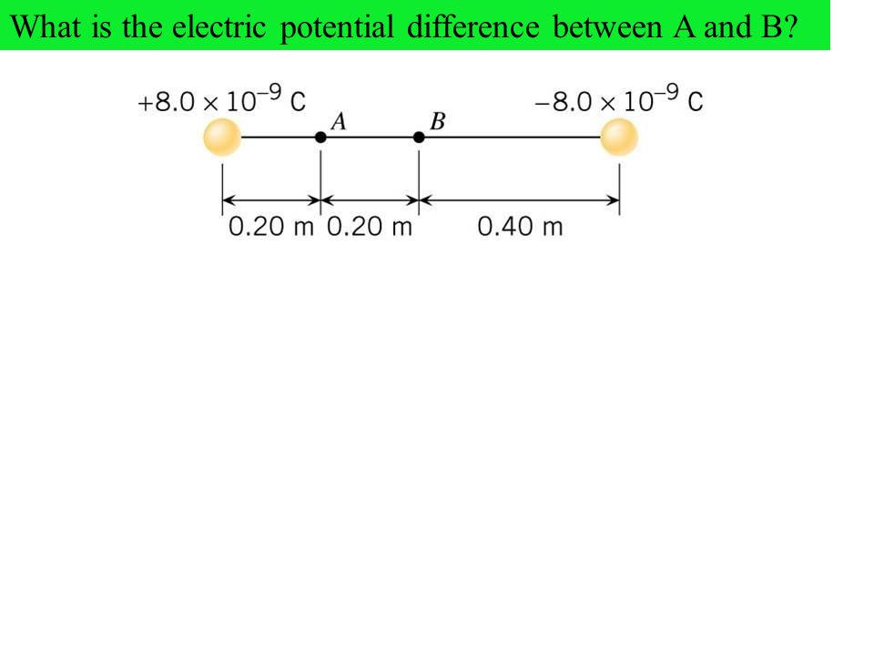 What is the electric potential difference between A and B?