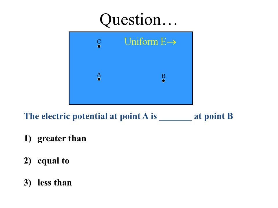 Question… The electric potential at point A is _______ at point B 1)greater than 2)equal to 3)less than