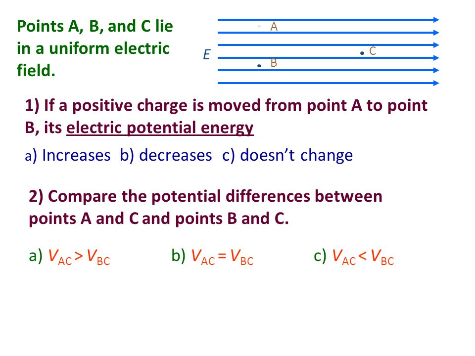 1) If a positive charge is moved from point A to point B, its electric potential energy a ) Increasesb) decreases c) doesnt change E A B C Points A, B