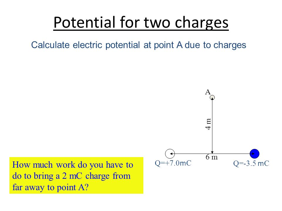Potential for two charges Q=-3.5 m C Q=+7.0 m C A 6 m 4 m How much work do you have to do to bring a 2 mC charge from far away to point A? Calculate e