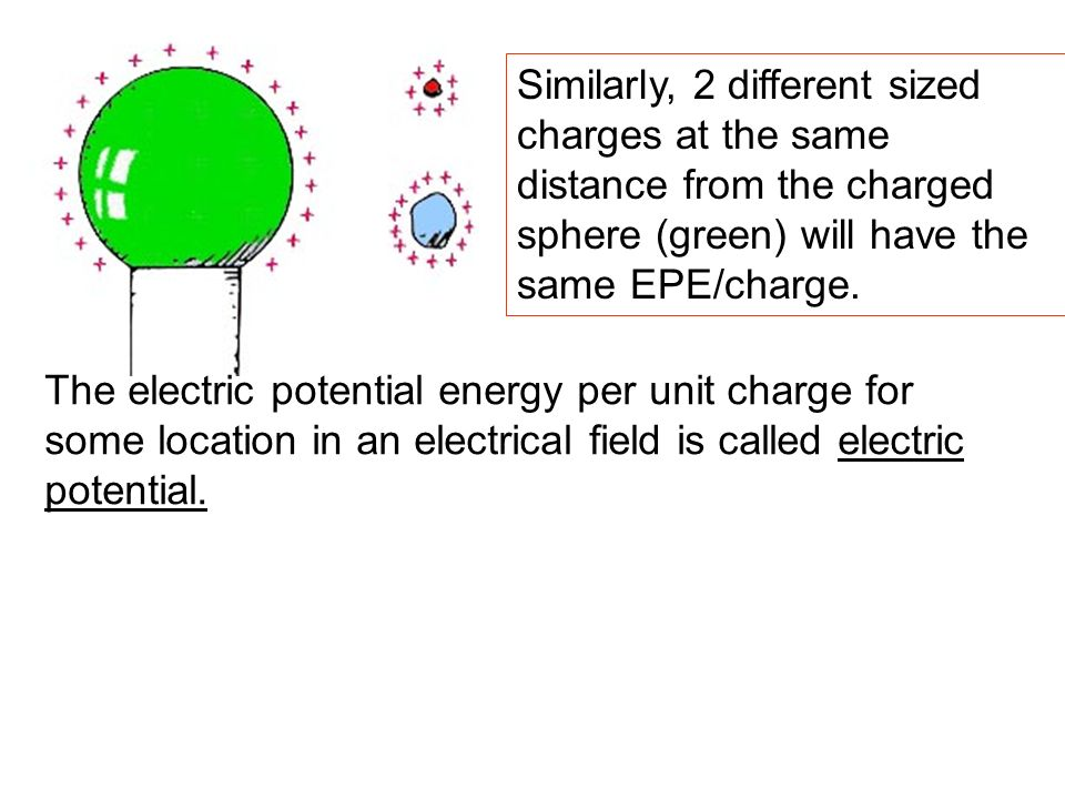 The electric potential energy per unit charge for some location in an electrical field is called electric potential. Similarly, 2 different sized char