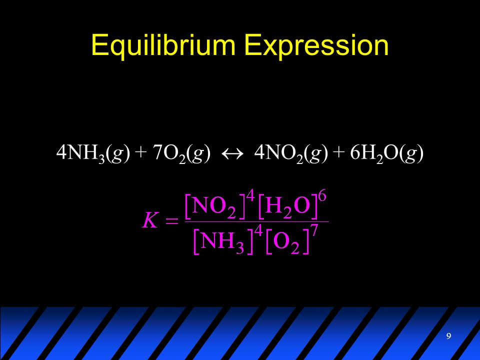 9 Equilibrium Expression 4NH 3 (g) + 7O 2 (g) 4NO 2 (g) + 6H 2 O(g)