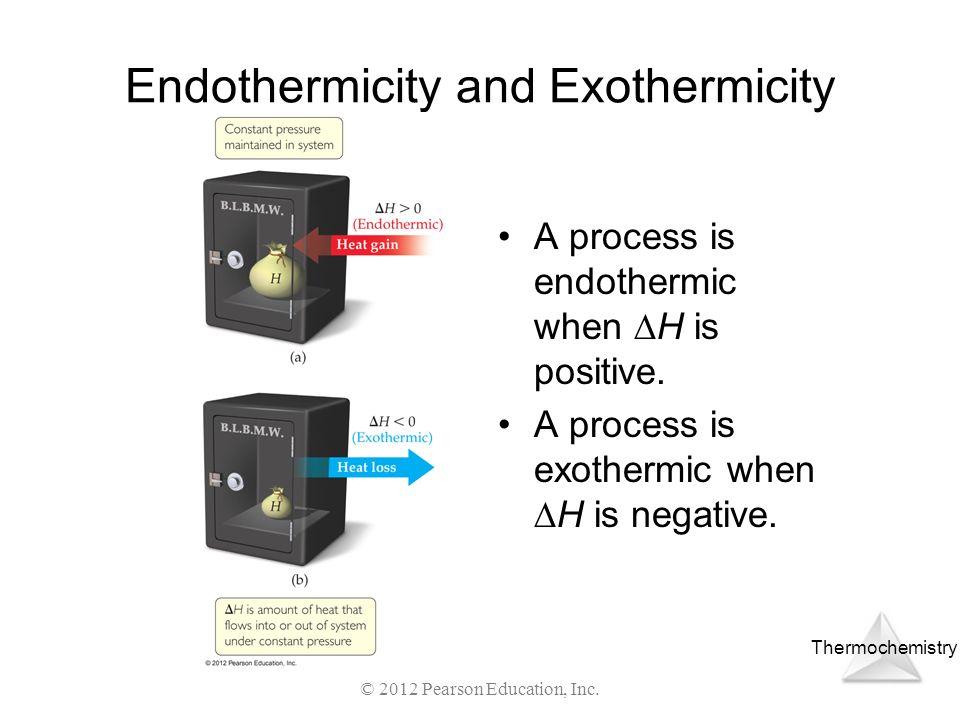Thermochemistry © 2012 Pearson Education, Inc. Endothermicity and Exothermicity A process is endothermic when H is positive. A process is exothermic w
