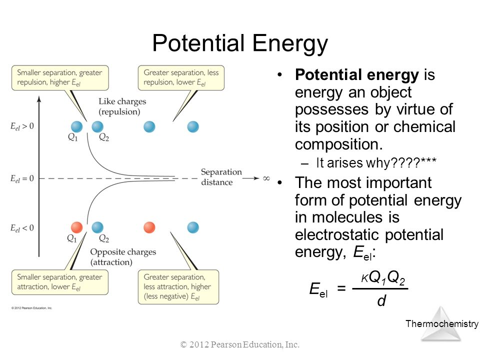 Thermochemistry © 2012 Pearson Education, Inc. Potential Energy Potential energy is energy an object possesses by virtue of its position or chemical c