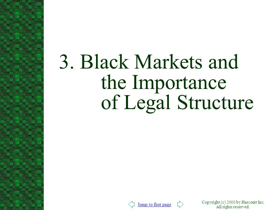 Jump to first page Copyright (c) 2000 by Harcourt Inc. All rights reserved. 3. Black Markets and the Importance of Legal Structure
