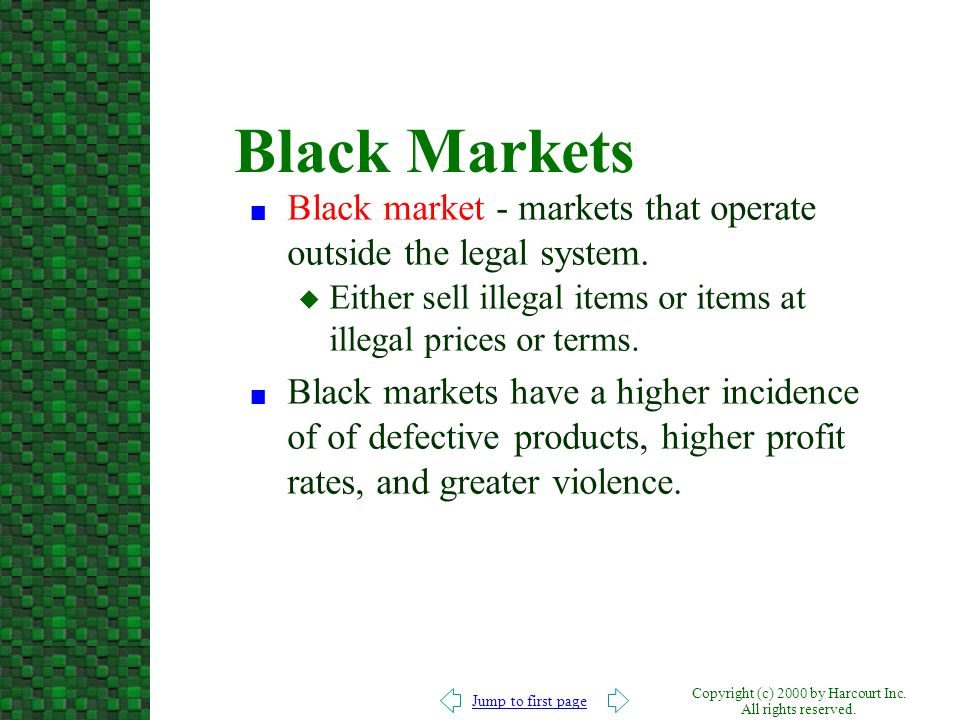 Jump to first page Copyright (c) 2000 by Harcourt Inc. All rights reserved. Black Markets n Black market - markets that operate outside the legal syst