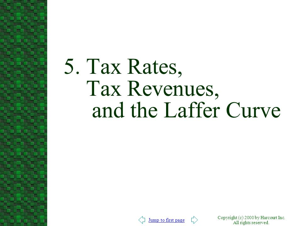 Jump to first page Copyright (c) 2000 by Harcourt Inc. All rights reserved. 5. Tax Rates, Tax Revenues, and the Laffer Curve