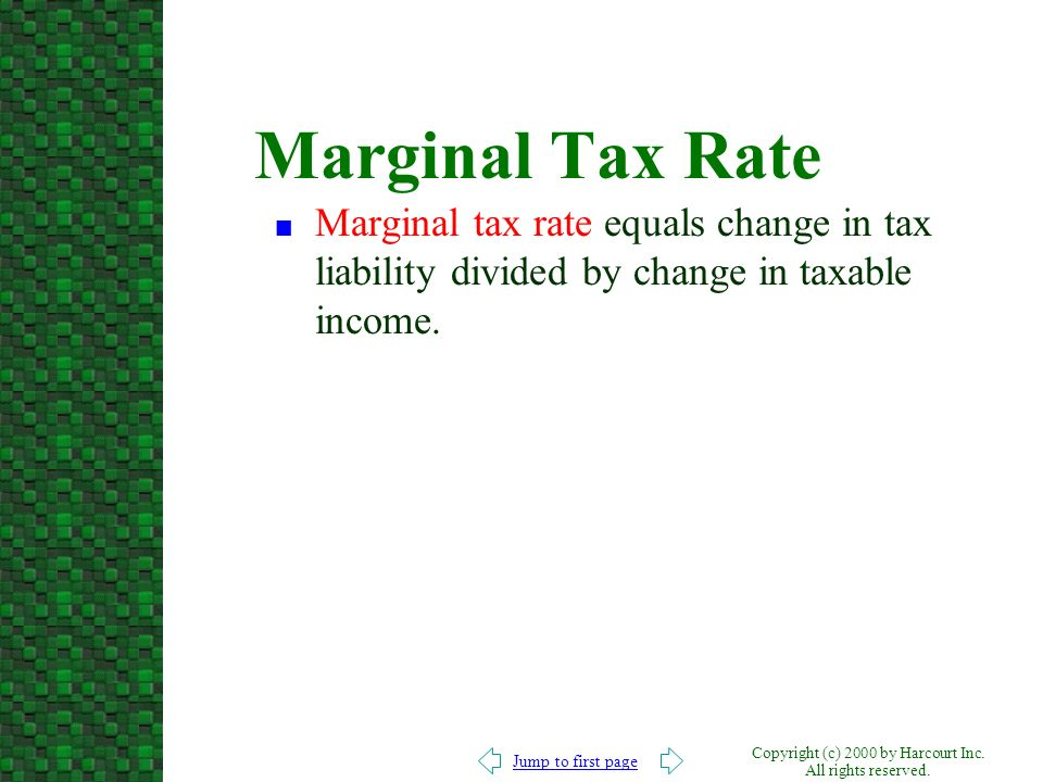 Jump to first page Copyright (c) 2000 by Harcourt Inc. All rights reserved. Marginal Tax Rate n Marginal tax rate equals change in tax liability divid