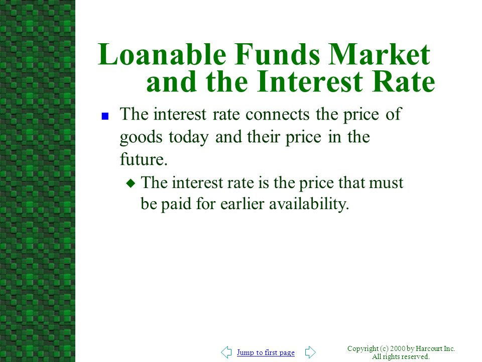 Jump to first page Copyright (c) 2000 by Harcourt Inc. All rights reserved. Loanable Funds Market and the Interest Rate n The interest rate connects t
