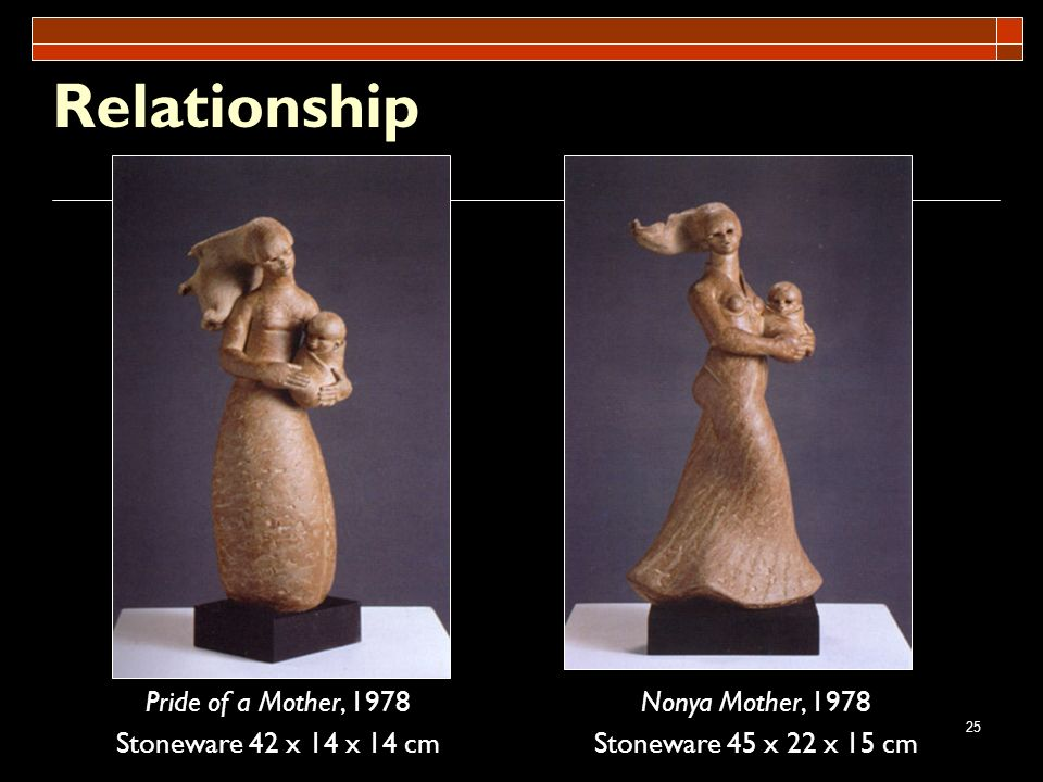 25 Relationship Pride of a Mother, 1978 Stoneware 42 x 14 x 14 cm Nonya Mother, 1978 Stoneware 45 x 22 x 15 cm