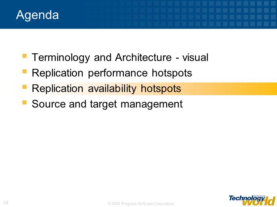 © 2008 Progress Software Corporation 19 Agenda Terminology and Architecture - visual Replication performance hotspots Replication availability hotspot