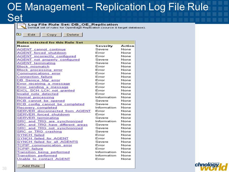 © 2008 Progress Software Corporation 38 OE Management – Replication Log File Rule Set