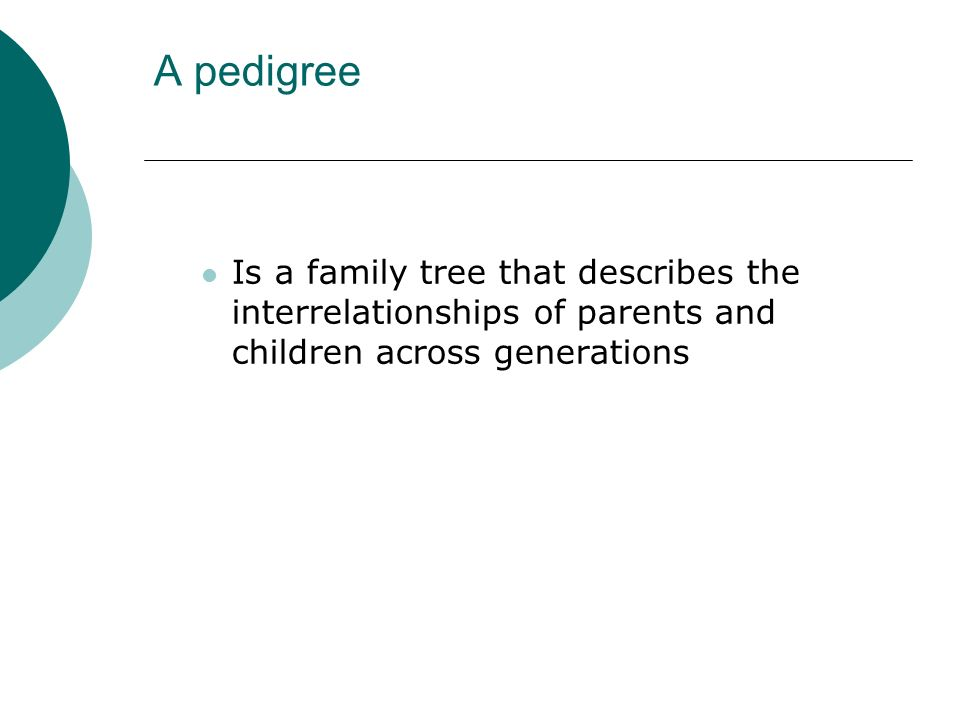 A pedigree Is a family tree that describes the interrelationships of parents and children across generations
