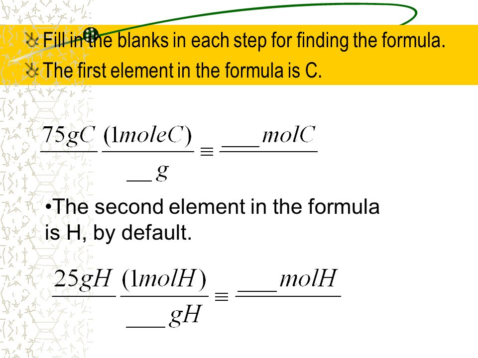 Fill in the blanks in each step for finding the formula. The first element in the formula is C. The second element in the formula is H, by default.