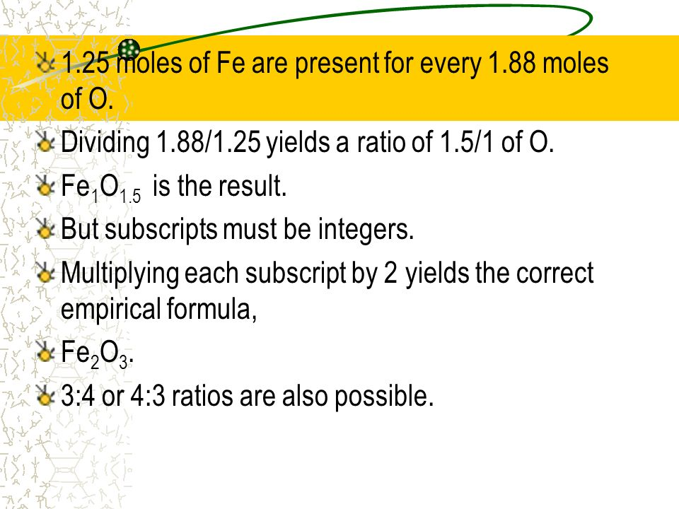 1.25 moles of Fe are present for every 1.88 moles of O. Dividing 1.88/1.25 yields a ratio of 1.5/1 of O. Fe 1 O 1.5 is the result. But subscripts must